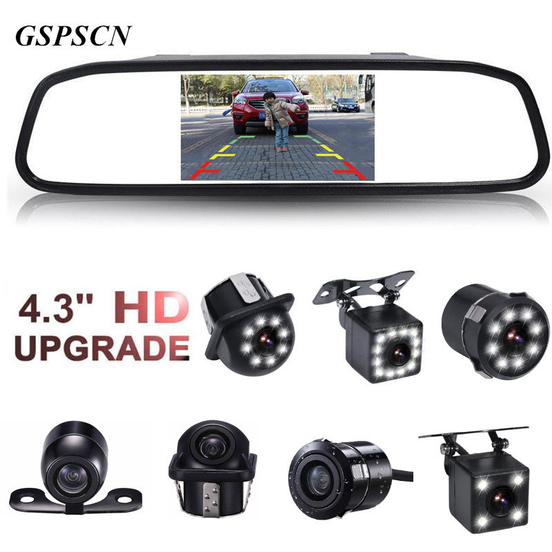 GSPSCN 4.3 inch Car HD Rearview Mirror Monitor CCD Video Auto Parking Assistance LED Night Vision Reversing Rear View Camera