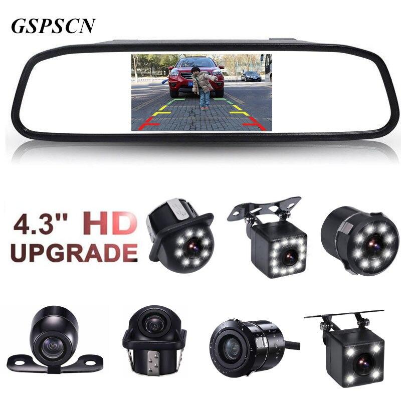 Gspscn 4.3 дюймов автомобиля HD Зеркало заднего вида Мониторы CCD Видео Авто Парковочные системы led Ночное видение обращая заднего вида Камера