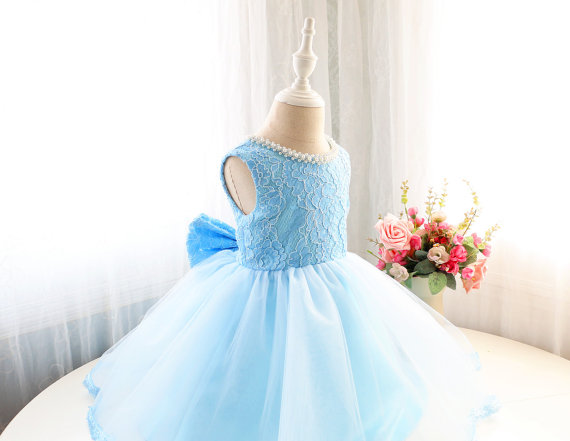 2017 Spring Baby Blue short Flower Girl Dresses For Party And Weddings lace Toddler Kids With Bow 1 year birthday baby dress toddler girl dresses chinese new year lace embroidery flowers long sleeve baby girl clothes a line red dress for party spring