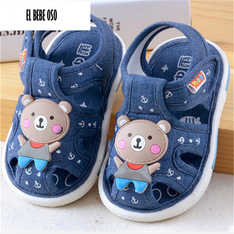 EL BEBE OSO Soft Denim Fabric Baby Girls Infant Shoes 0-24M Summer New First Walkers Nonslip Sound Shoes For Toddler Boys
