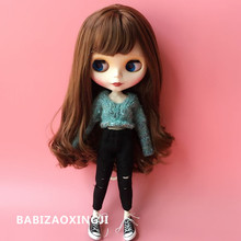 1/6 blyth doll clothes Pullip fashion Doll Accessories Sweater+ hole jeans suit 30cm bjd blyth doll clothing for 1/6