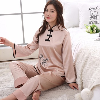 Hot Sale New Women Satin Pajamas Set Camel 2 PCS Causal Nightwear Pyjamas Suit Chinese Style Girl Embroidery Sleepwear M-XXL
