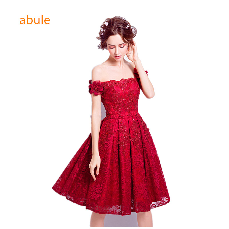 abule Robes De Soirée Vin Rouge Dentelle Broderie Sans Manches A-line lace up Banquet Elegant Partie Formelle Robe De Bal Robe De Soirée