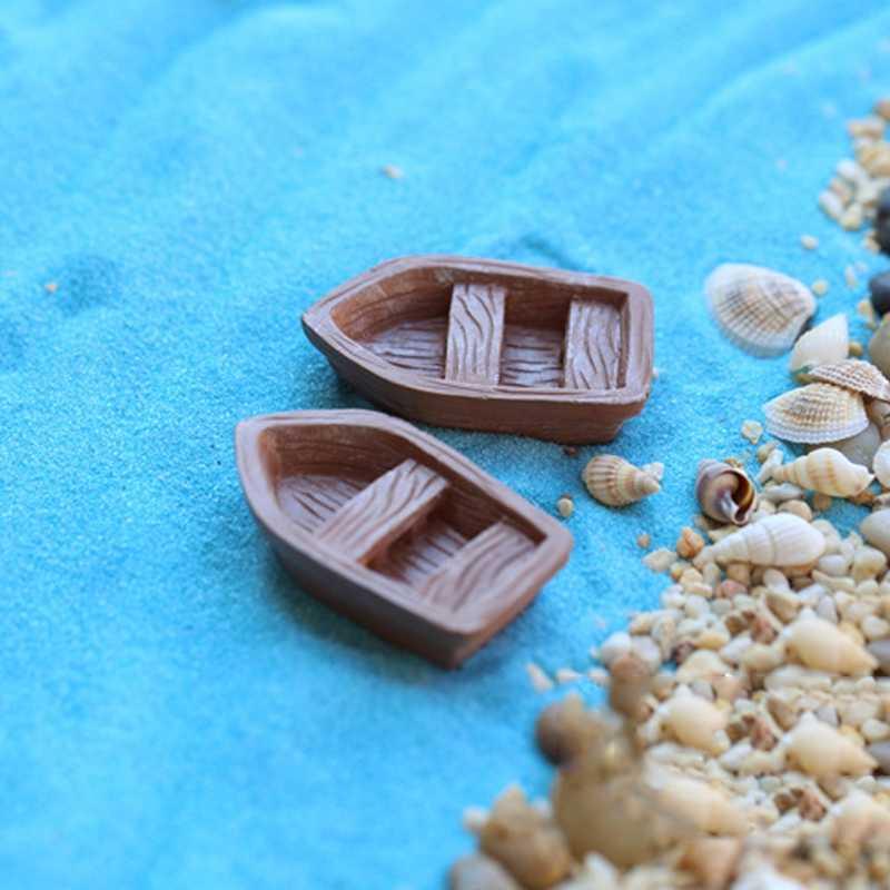 2019 New Garden Ornament Boat Resin Figurine Craft Plant Pot Fairy Landscape DIY Miniature Accessories Garden Supplies