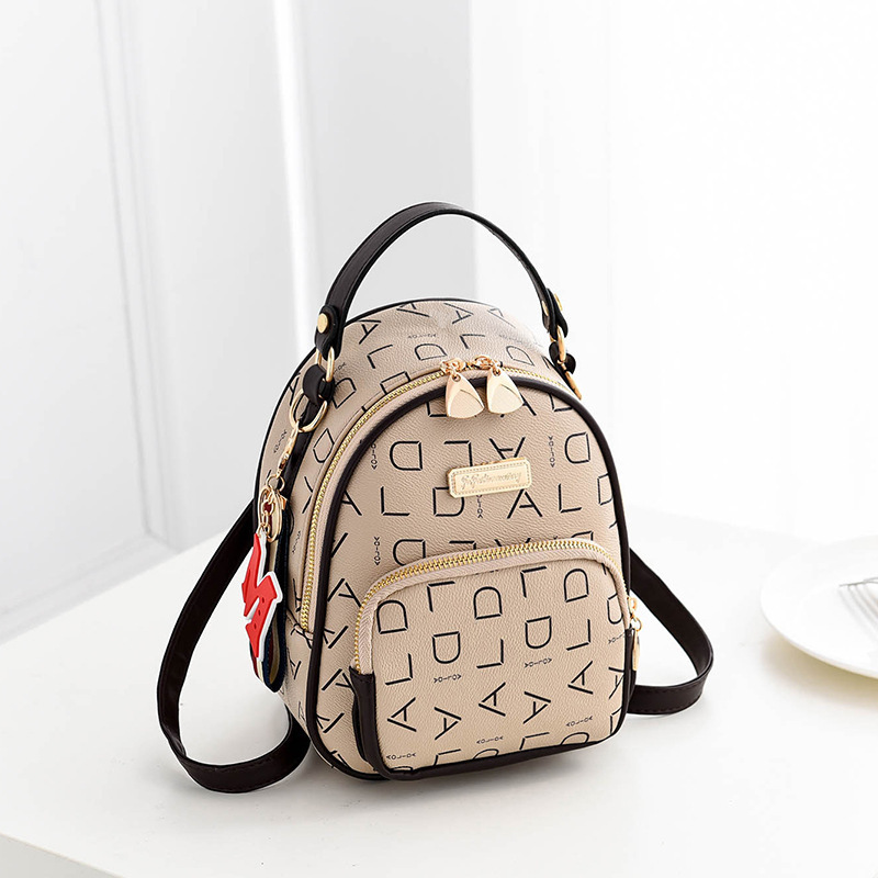 2019 Fashion Small Backpack PU Leather Letter School Bag Letter Printing Shoulder Bags Lady Travel Backpack Mochila Feminine in Backpacks from Luggage Bags