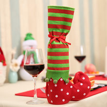 1 Pcs 3 in 1 Christmas Elf Shape Foot Shoes Chair Table Leg Covers Sleeve Wine Bottle Cover Christmas Decoration Candy Gift Bag(China)