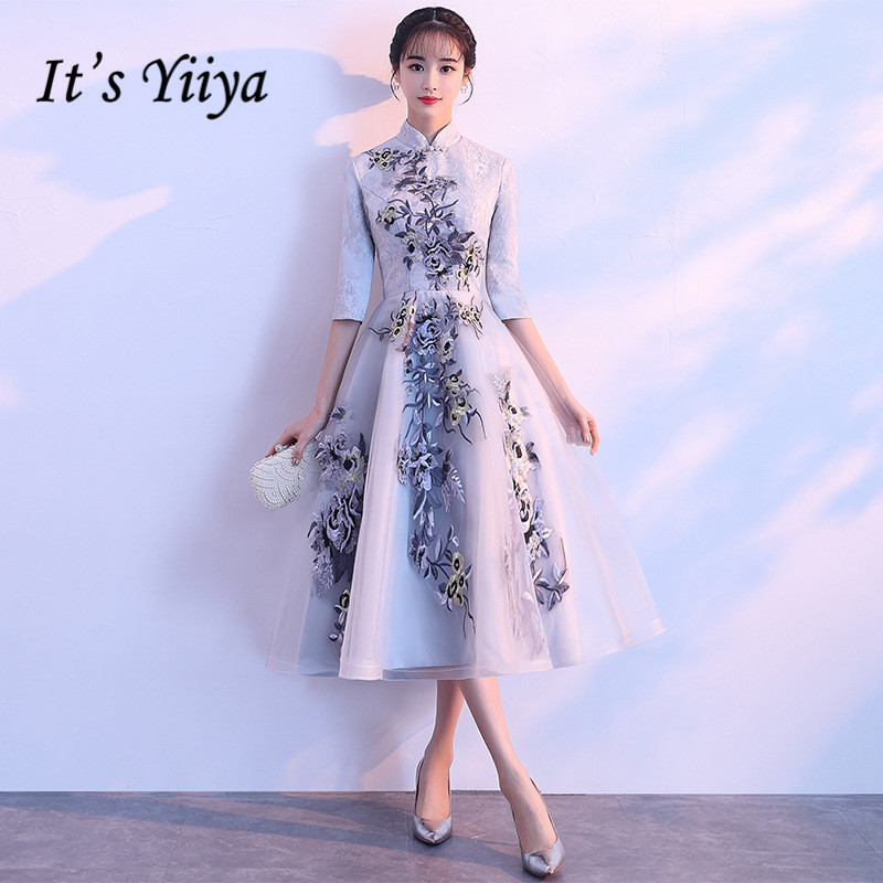 It's YiiYa Vintage High Collar Half Sleeves Embroide Lace Up Formal   Cocktail     Dresses   Tea-Length Party Full   Dress   MX025
