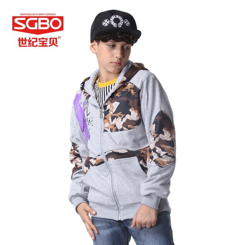 Marca moda del muchacho camuflaje Patchwork Hoodies 11 12
