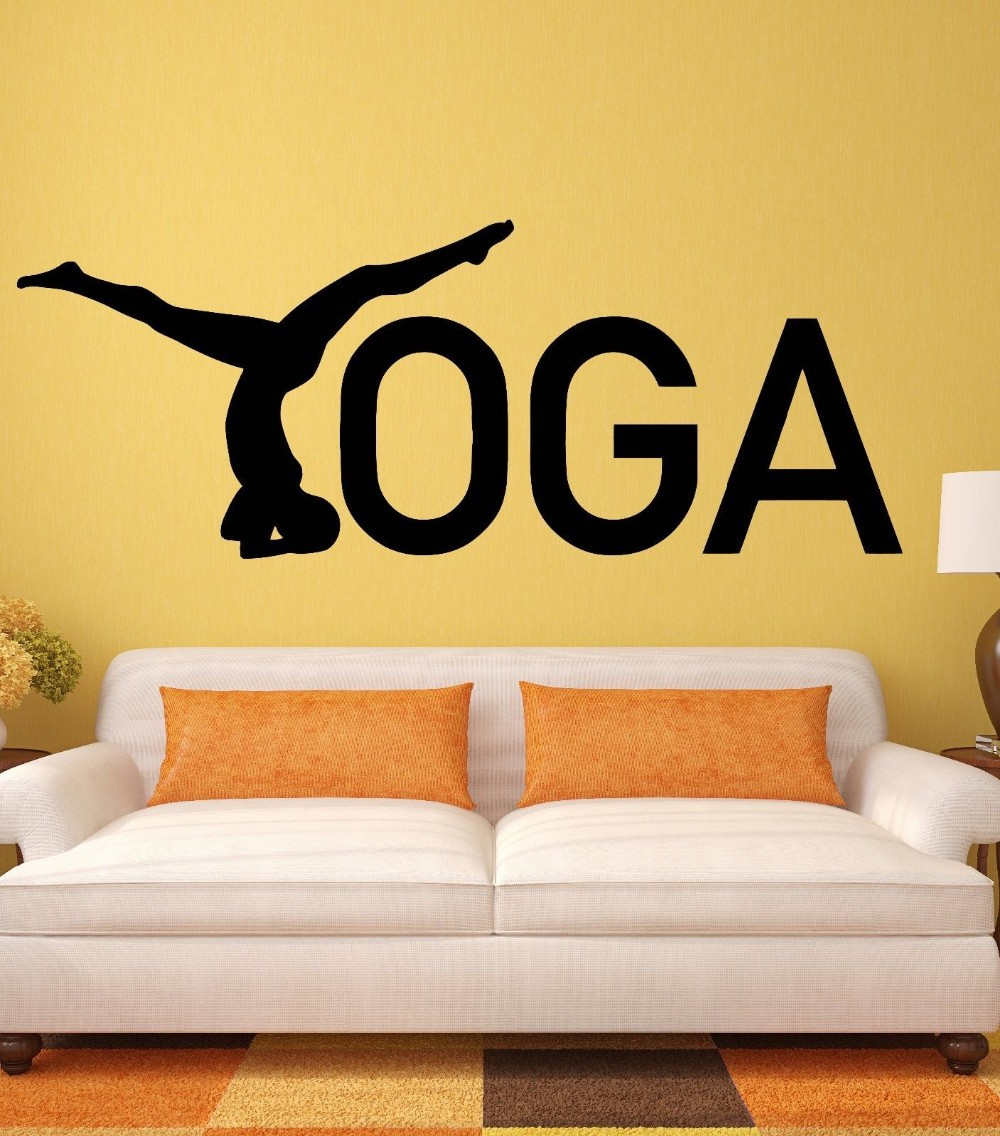 Yoga Wall Stickers Zen Healthy Lifestyle Woman Girl Meditation Vinyl ...