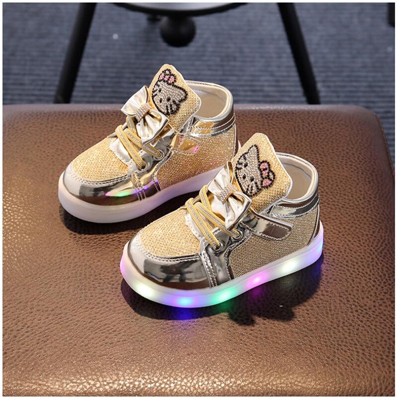 Girls shoes baby Hook Loop led light shoes kids light up ...
