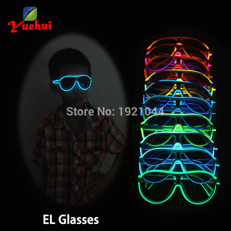 High-grade Flashing Glowing Glasses 10Colors Optional EL Wire Family suits Popular Colorful Glowing Gift For Holiday Party Decor