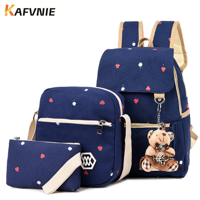 9b9947e48 Fashion Composite Bag Preppy Style Backpacks For Teenage Girls High Quality  Canvas School Bags Cute Bear 3 Set Backpack Female