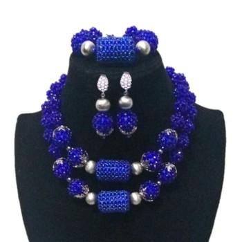 4UJewelry Silver Jewelry Set Blue Balls Crystal beaded Costume Jewellery 2 Rows African Bridal Fashion Jewelry Free Shipping New