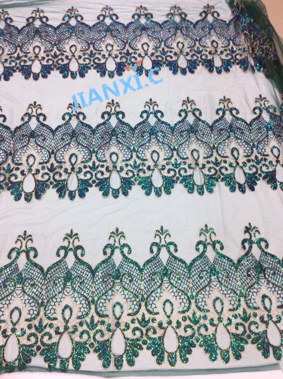 CiCi 81905 Afrikaanse tule kant met gelijmd glitter Nieuwe en Unieke Afrikaanse glitter Kant stof voor feestjurk-in Kant van Huis & Tuin op  Groep 1