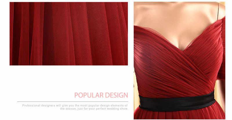 JaneVini Borgoña media manga tul vestidos de graduación damas de honor Largo hasta el suelo elegante Formal vestidos de fiesta Vestido Largo Sirena