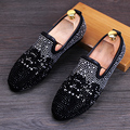Горячий Продавать Новые Люди Вскользь Комфорт Loafer Обувь Мода Desinger Горный Хрусталь Заклепки Круглый Носок Скольжения На Тенденции Обувь Размер 38-44