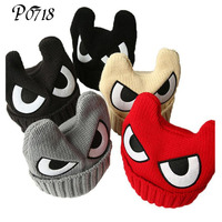2017 Big Eyes Caps For Children OX Horn Winter Hats For Boys Warm Knitted Caps Girls