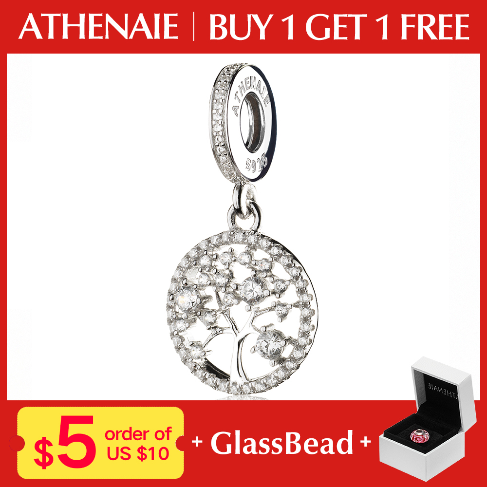 ATHENAIE 925 Sterling Silver with Pave Clear CZ Family Heritage Pendant Drops Charms For Bracelets Beads amp Jewelry адресник my family charms номер 1 белый средний