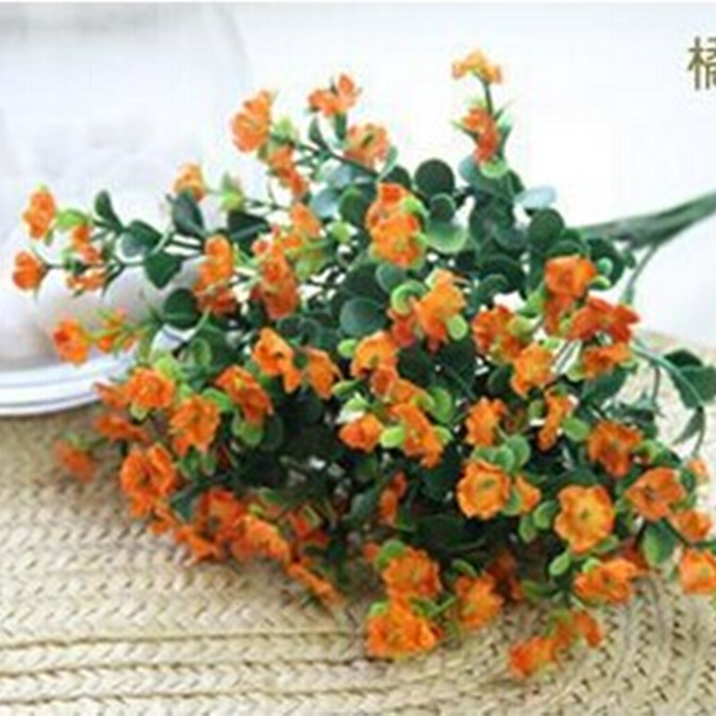 hot sale orange color artificial gypsophila babys breath fake silk flower home party wedding decor