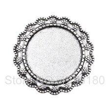 Fit 25mm Antique Silver Cameo/Glass/Cabochon Frame bezel Settings Brooch,DIY Accessory Base Charm 5pcs/lot K02413