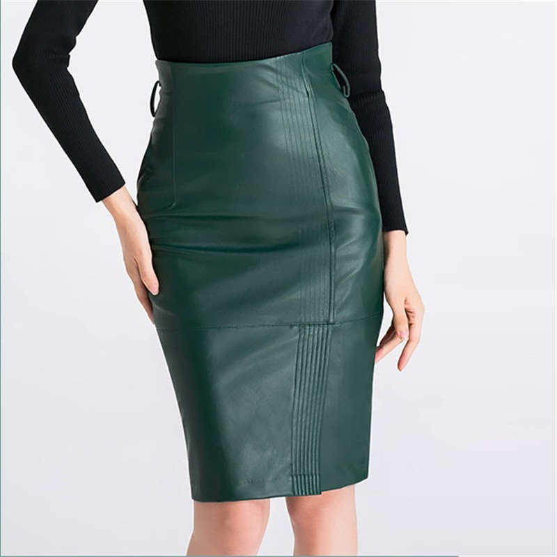 340dc5c0cb6 S-4XL PU leather Skirt Women Plus Size Sexy High Waist Faux leather Skirts  Women Belted Fashion Pencil Skirt black green F274