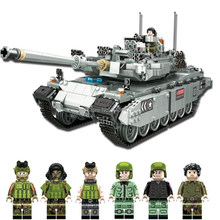 hot compatible LegoINGlys military World War II Germany Leopard 2 tank Building Blocks mini army figures brick toys for children(China)