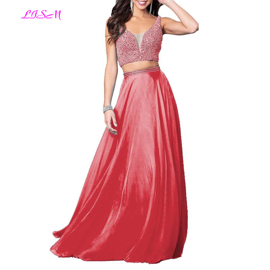 2019 Two Pieces Prom Dresses Sexy Sweetheart Long Formal Gowns Crystals Backless Chiffon Bridesmaid Dress Vestido De Festa Longo