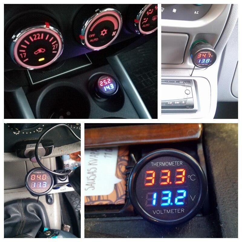 Thermomètre 2 en 1, moniteur de la température, thermomètre à double affichage, 12V /24V, thermomètre numérique à LED volts