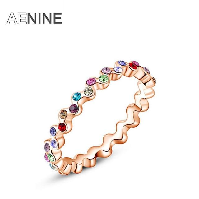 AENINE Colorful Austrian Crystal Ring Jewelry Luxury Charming Elegant jewelry Ri