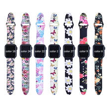 Floral Flower waterproof  sweatproof  Bands For Apple watch Series 4 3 2 1 40mm 44mm, Silicone Pattern Printed Strap for iWatch цена и фото