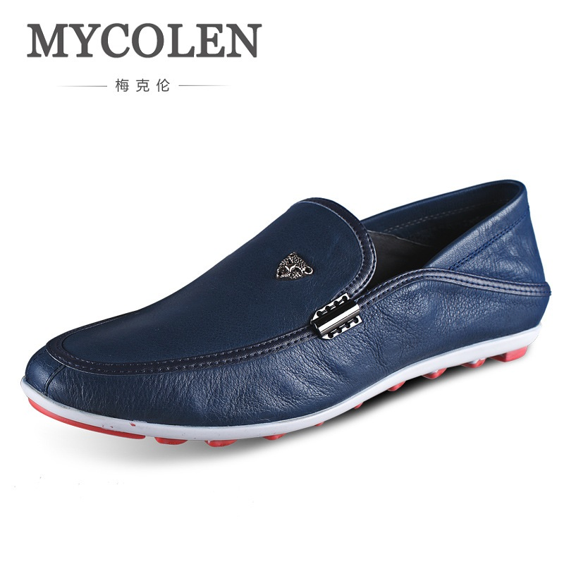 MYCOLEN Spring Men Soft Leather Loafers Male Casual Shoes Genuine Leather Moccasin Flat Driving Shoe Luxury Brand Schoenen men s genuine leather casual shoes handmade loafers for male men waterproof flat driving shoes flats