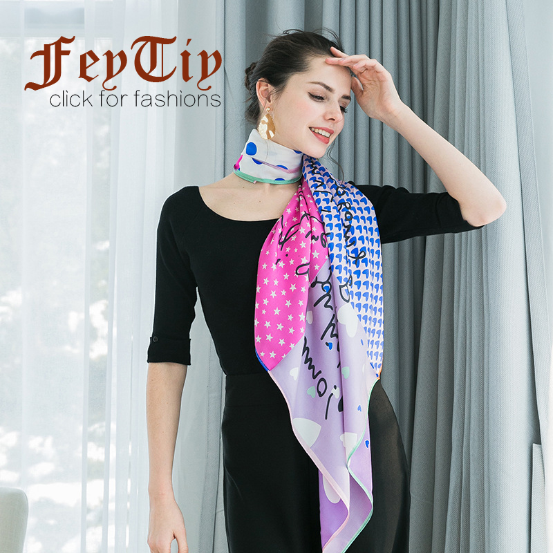 22f1aac535 100% Pure Silk Scarf Women Love Star Print Fashion Shawl Hand Rolled Color  Block Scarves