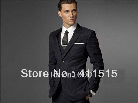 Free Shipping/cheap For Man Fashion Business Suit Wedding Made Tuxedos Black Groom Wear Suit Men For Clothes /custom Suits