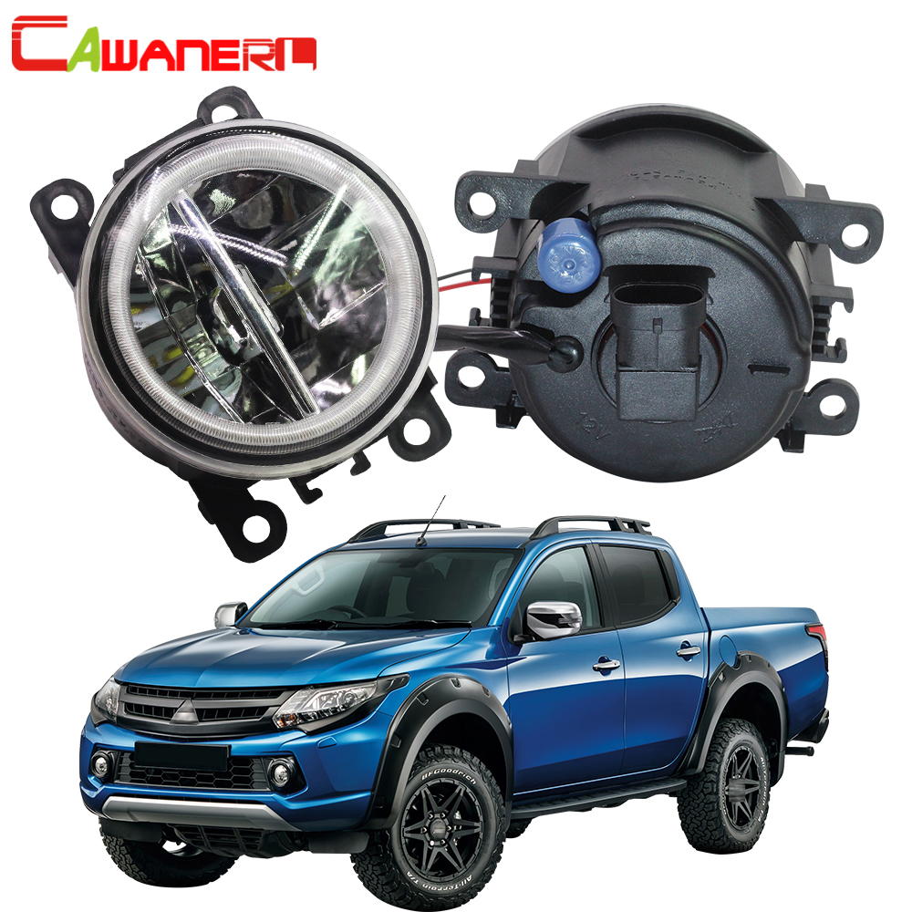 Cawanerl For Mitsubishi Triton ML MN 2006 2015 Car 4000LM LED Bulb Fog Light + Angel Eye Daytime Running Light DRL 12V 2 Pieces
