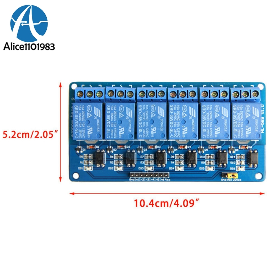 5V 6-CH Relay Module Expansion Board with Optocoupler Insulation for Arduino