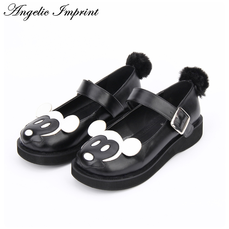 Girls Black and White Leather Lovely Mickey Round Tie Platform Mary Jane Sweet Lolita Shoes  8517 sky blue red leather princess girl sweet lolita wedge mary jane shoes