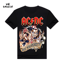 YK UNCLE Brand AC/DC Demon Skull Men Fashion T Shirt Printed Marvel Comics Clothes Hip Hop Style Summer T shirt Own Design