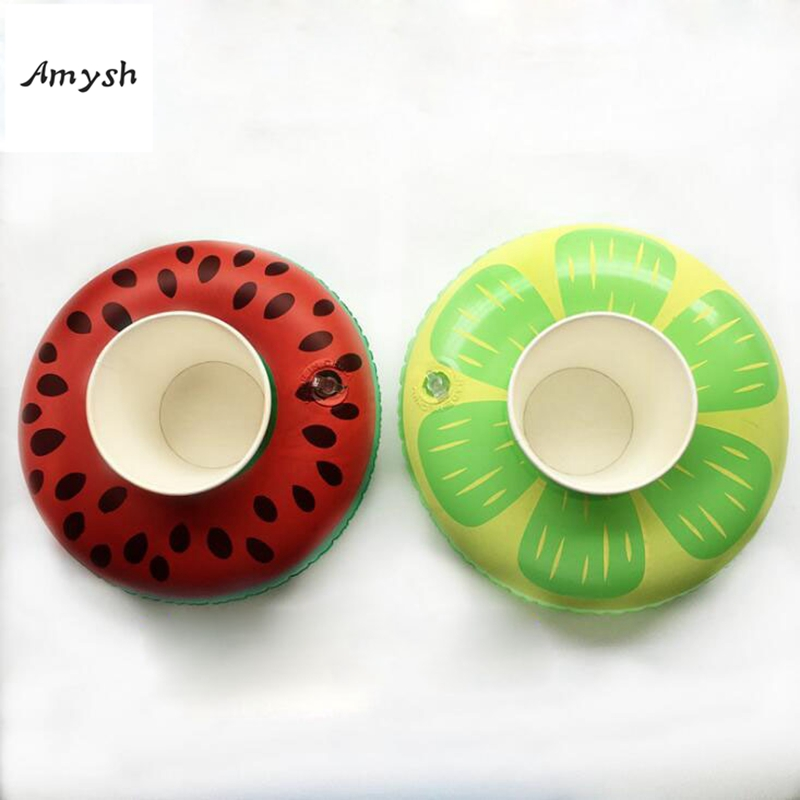 Amysh Summer Inflatable Toys cute Drink Can Holder PVC Inflatable Floating Watermelon Toy Swimming Pool Bathroom Beach Water Toy