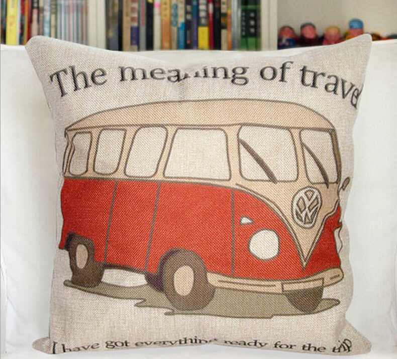 New Bus Pattern 45cm * 45cm Square Home Decorative PIllows Cover Sofa Cushion Cover Baby Cojines