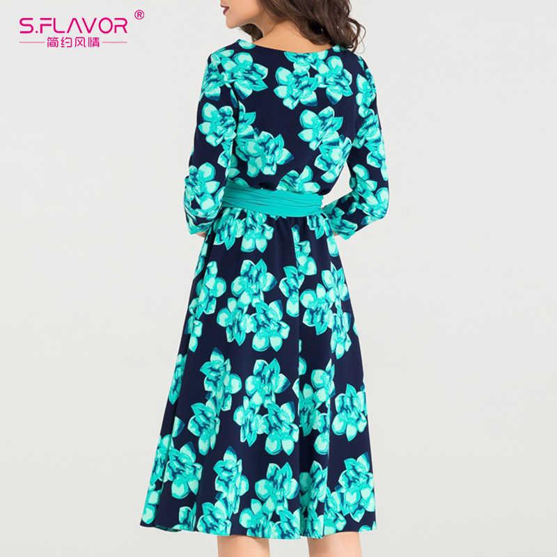 S. FLAVOR свободного стиля женское платье трапециевидной формы с принтом элегантное 3/4 рукав o-образным вырезом повседневное короткое платье для женщин весна лето vestidos