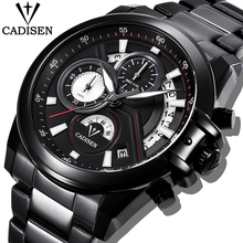 купить CADISEN Men Watch Military Waterproof Watches Top Brand Luxury Steel Quartz Business Watch Male WristWatch Relogio Masculino+BOX дешево