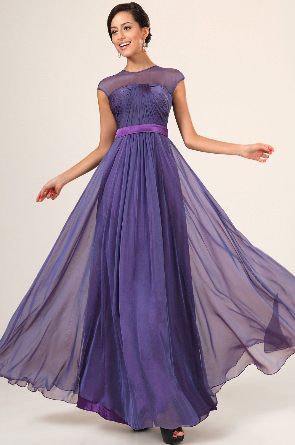 See Through Back Purple Bridesmaid Dress To Party Chiffon Special ...