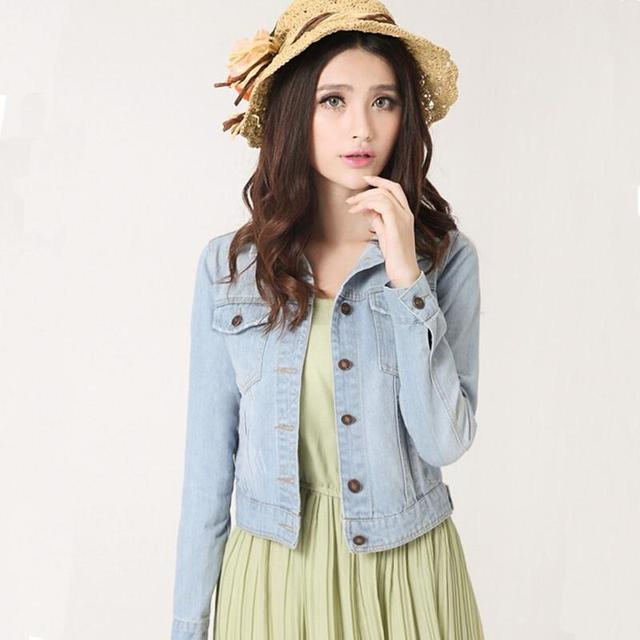 Novas mulheres da moda jaqueta jeans plus size vintage cropped curto denim jackets brasão da longo-luva cardigan luz/deep azul
