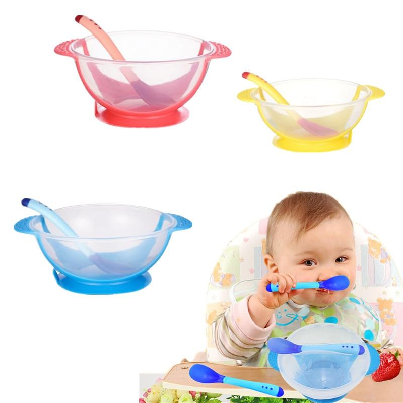 Baby Feeding Set Sucker Bowl Spoon Temperature Sensing Baby Tableware Learning Dishes Assist Food Bowl Children Feeding Bowl