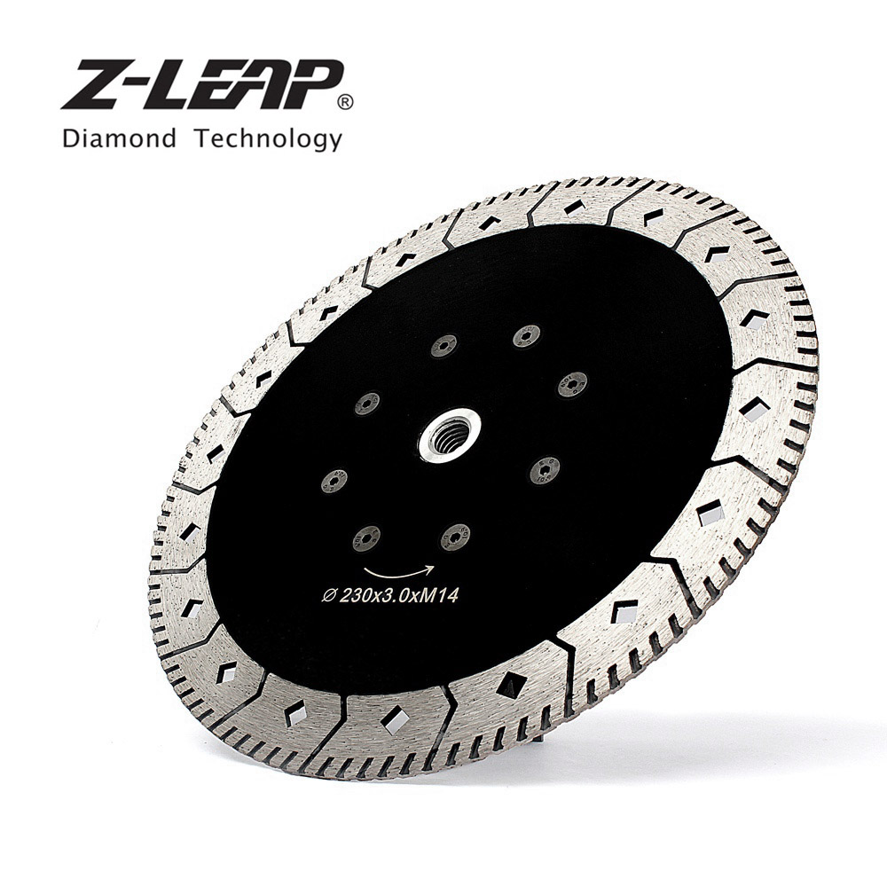 Z LION 1piece 230mm Diamond Saw Blade With M14 Flange Dual Cutting Grinding Disc 9 Inch