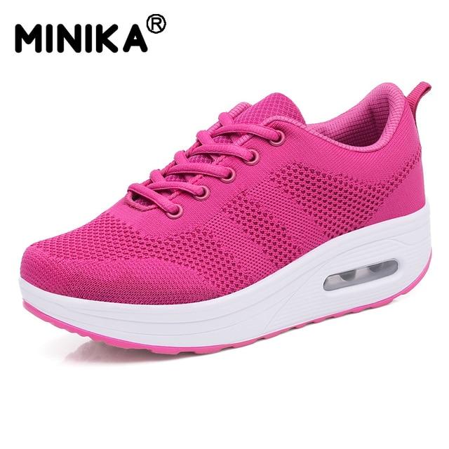 Minika נשים נעליים יומיומיות גובה הגדלת פלטפורמת דירות לנשימה רשת נעלי ספורט טריז Tenis Feminino גבירותיי נעל סל