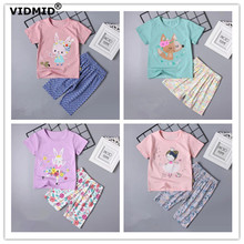 hot deal buy vidmid summer baby girls cotton clothing sets t-shirt+shorts children's clothing suits kids girls casual sets for 1-9 years 4049