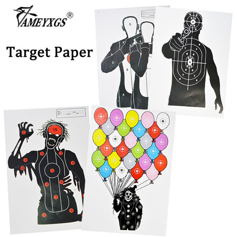 10/20pcs Archery Arrow Target Paper Arrow Field Point Shooting Practice Zombie Clown Target Paper For Bow Hunting Accessories