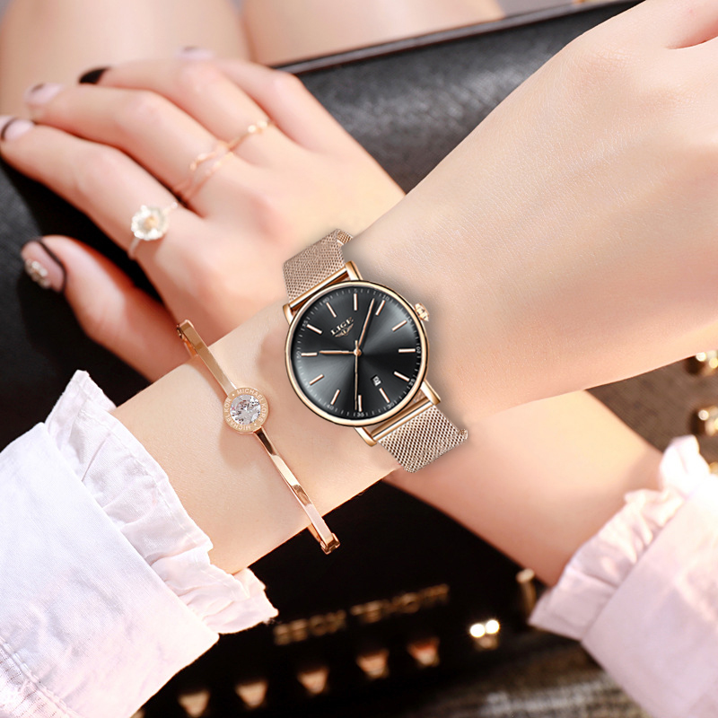 LIGE Women Watch Top Brand Luxury Super Waterproof Ladies Stainless Steel Wristwatch Quartz Clock