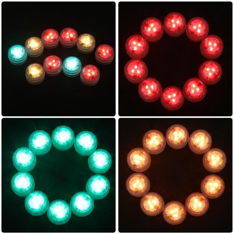 10LED Underwater Light Pond Submersible IP68 Waterproof Lamp Swimming Pool Lighting Remote Control Wedding Party Vase Decoration